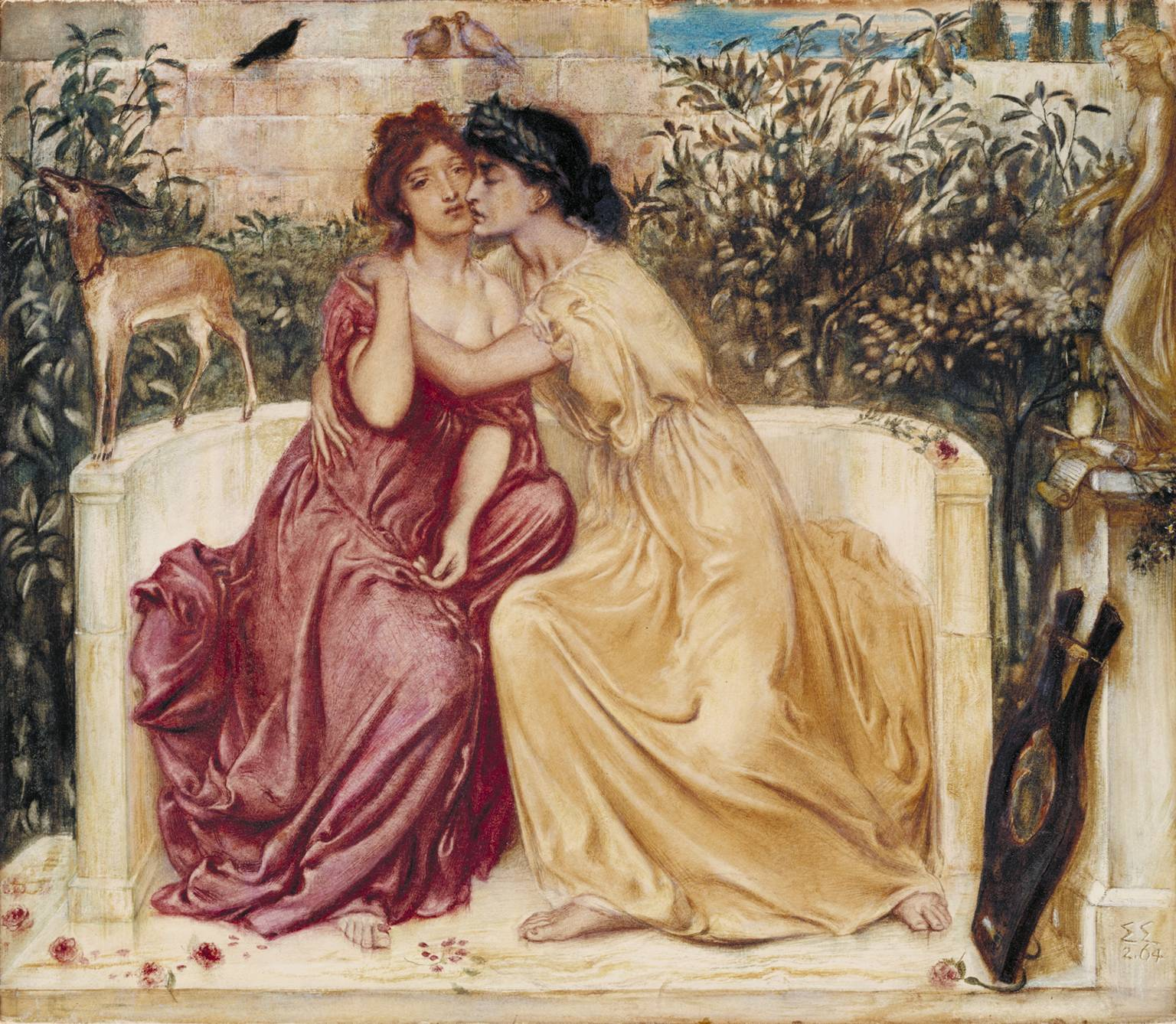 Sappho and Erinna in a Garden at Mytilene 1864 by Simeon Solomon 1840-1905